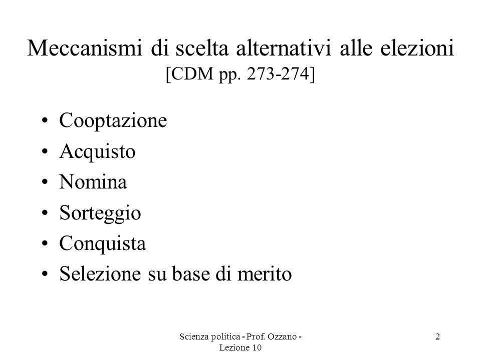 Meccanismi di scelta alternativi alle elezioni [CDM pp. 273-274]